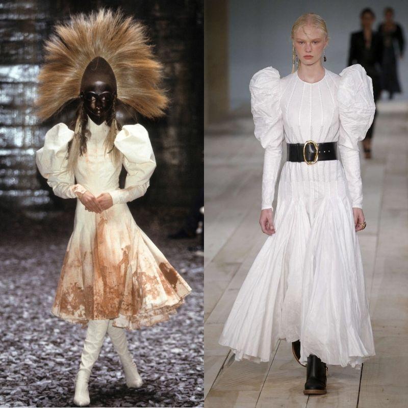 Eshu dress (a sx: McQueen, fw00; a dx: Burton, ss20)